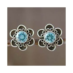 Sterling Silver 'Blue Blossom' Topaz Earrings (India)
