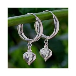 Sterling Silver 'Heart Halo' Hoop Earrings (Thailand)