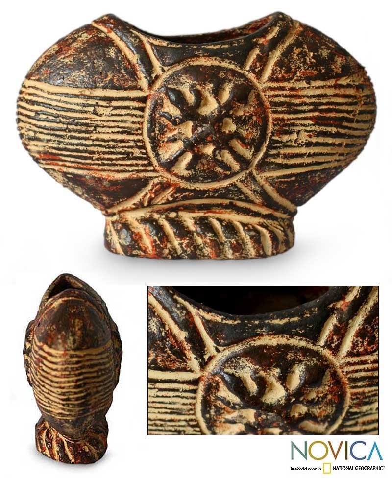 Handcrafted Ceramic 'Unity Fruit' Vase (Ghana)