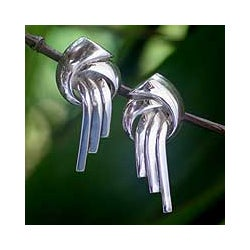 Sterling Silver 'Waterfall' Button Earrings (Thailand)
