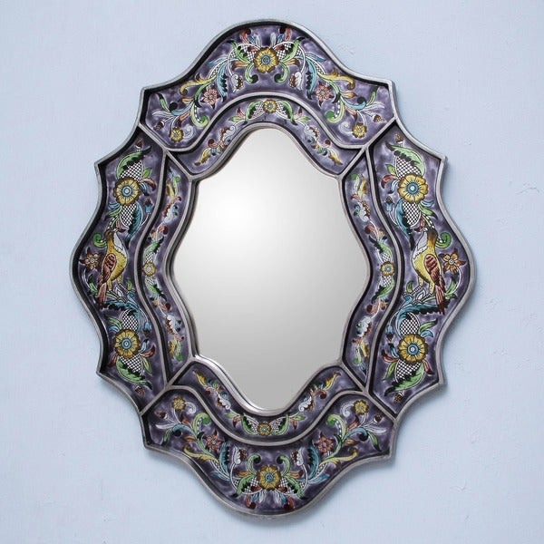 Reverse Painted Glass 'Spring Violets' Wall Mirror , Handmade in Peru
