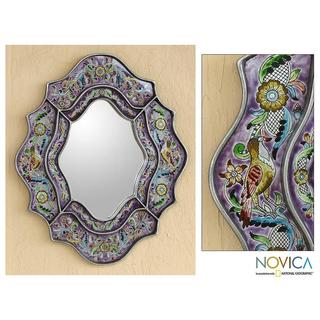 Reverse Painted Glass 'Spring Violets' Wall Mirror (Peru)
