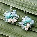 Sterling Silver 'Blues' Pearl Earrings (4.5-5.5 mm) (Thailand)