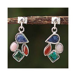 Sterling Silver 'Petals' Carnelian and Chrysocolla Earrings (Peru)