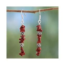 Sterling Silver 'Fire Magic' Jasper Drop Earrings (India)