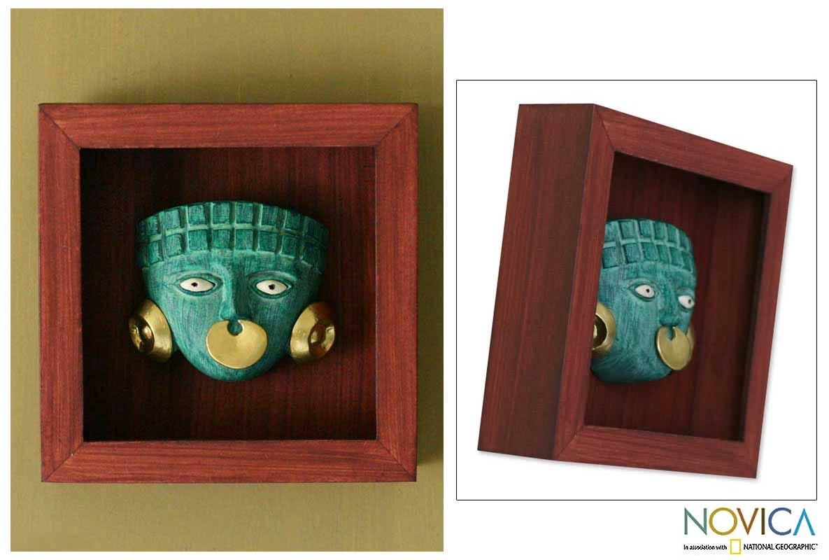Papier Mache 'Emerald Moche Mask' Shadow Box Mask (Peru)