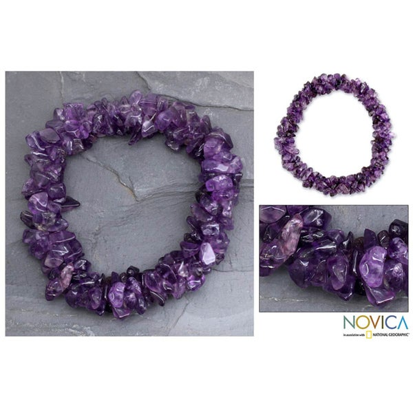 Amethyst 'Lilac Muse' Stretch Bracelet (India)