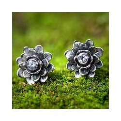 Sterling Silver 'Blue-eyed Lotus' Blue Topaz Earrings (Indonesia)