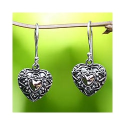 Sterling Silver 'Sweetheart' Heart Earrings (Indonesia)