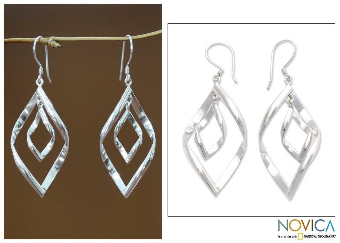 Sterling Silver 'Infinite Dance' Dangle Earrings (Indonesia)