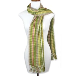 Cotton 'Fair Olive' Scarf (Guatemala)