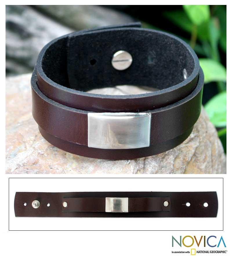 Men's Leather 'Contrast' Wristband Bracelet (Thailand)