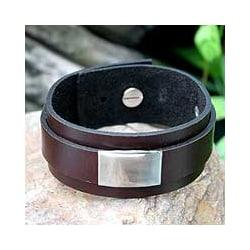 Men's Leather 'Contrast' Wristband Bracelet (Thailand)