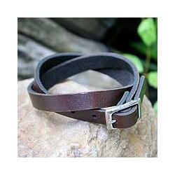 Leather 'Double Wrap Brown' Wrap Bracelet (Thailand)