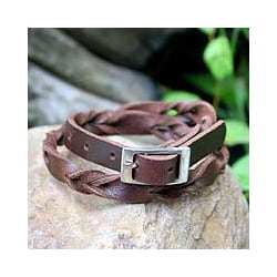 Leather 'Brown Trendsetter' Wrap Bracelet (Thailand)
