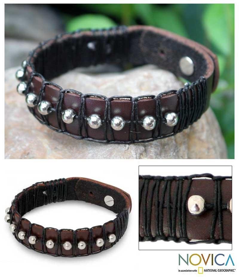 Leather 'Moon Balloons' Wristband Bracelet (Thailand)