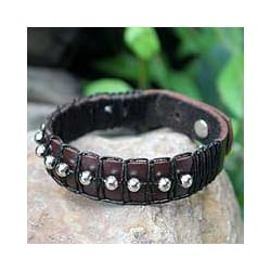 Leather 'Moon Balloons' Wristband Bracelet (Thailand)