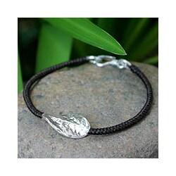Silver 'Dancing Leaf' Floral Bracelet (Thailand)