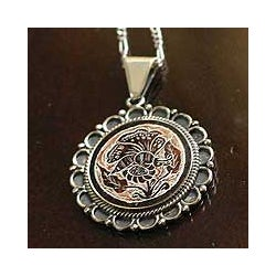 Sterling Silver 'Daisy Butterfly' Mate Gourd Flower Necklace (Peru)