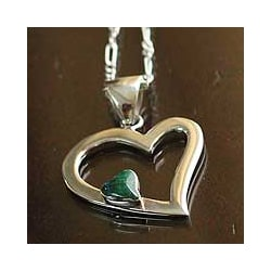Sterling Silver 'Secret Love' Chrysocolla Heart Necklace (Peru)