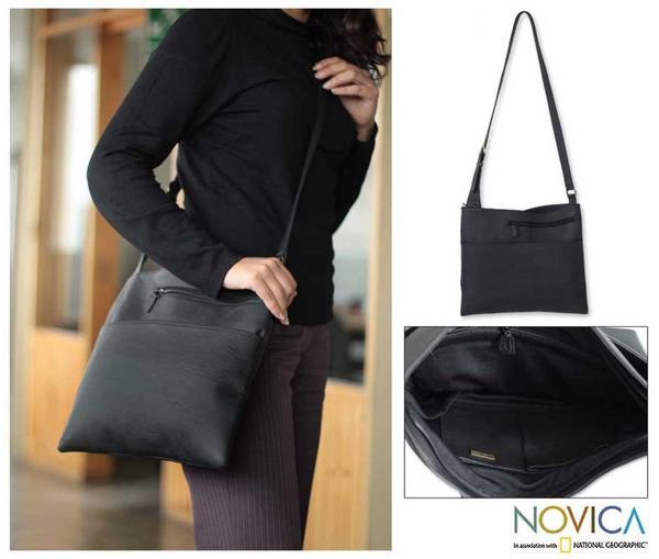 Leather 'Midnight' Large Shoulder Bag (Peru)