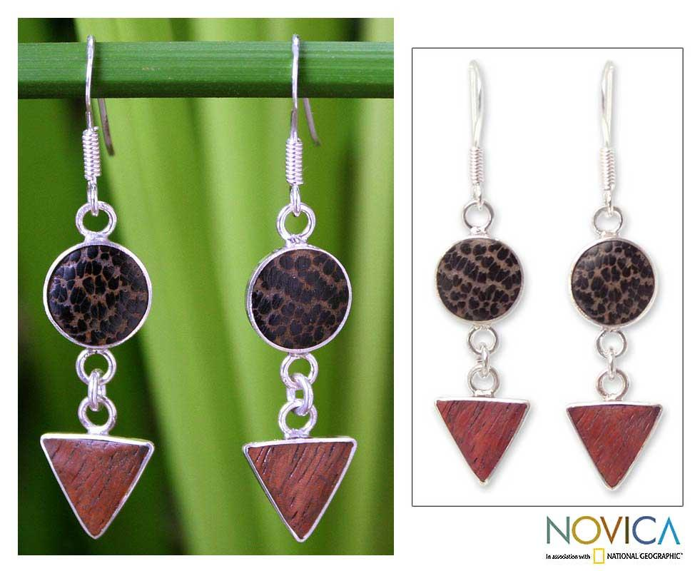 Sterling Silver 'Geometry' Coconut and Mango Wood Earrings (Thailand)