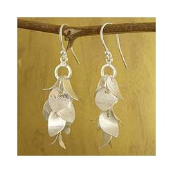 Sterling Silver 'Winter Leaves' Dangle Earrings (India)