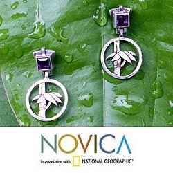 Sterling Silver 'Bamboo Muse' Amethyst Floral Earrings (Indonesia)