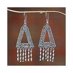 Sterling Silver 'Twist' Chandelier Earrings (Indonesia)