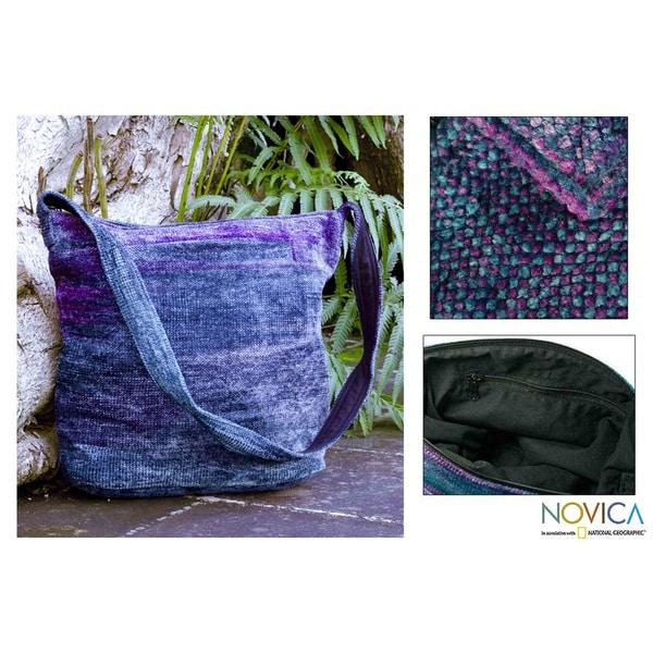Handmade Bamboo Chenille 'Magical Moon' Medium Shoulder Bag (Guatemala) 7908156