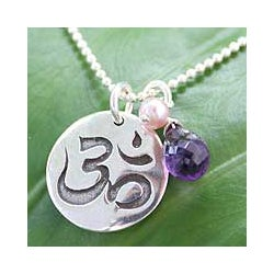 Sterling Silver 'Yoga Cobra' Pearl Amethyst Necklace (5 mm) (Thailand)