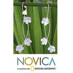 Sterling Silver 'Floral Breeze' Flower Earrings (Thailand)