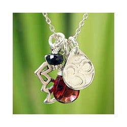 Sterling Silver 'Lotus Om' Garnet and Onyx Flower Necklace (Thailand)
