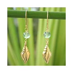 Goldplated Silver 'Seashell' Prasiolite Earrings (Thailand)