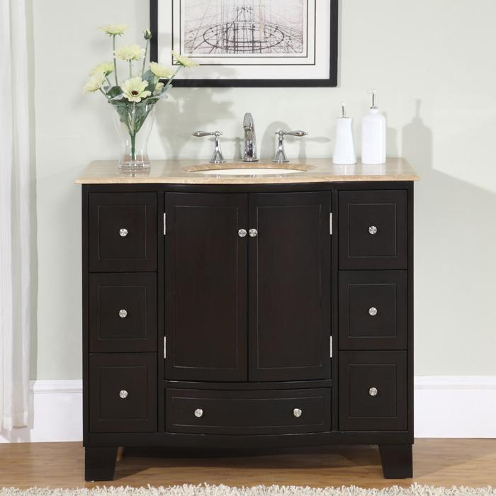 ... White Marble Stone Top Bathroom Off-Center Single Sink Vanity (Left