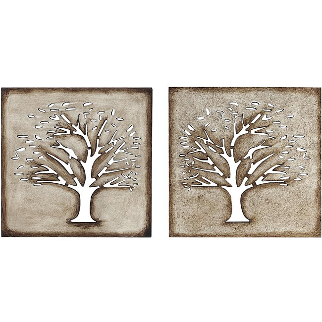 wood crafted tree wall art set of 2 13552728. Black Bedroom Furniture Sets. Home Design Ideas