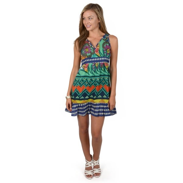 Journee Collection Juniors Mixed Print Sweetheart Neck Tunic Dress