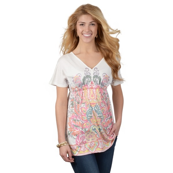 Journee Collection Juniors Mixed Print Short-sleeve Tunic Top
