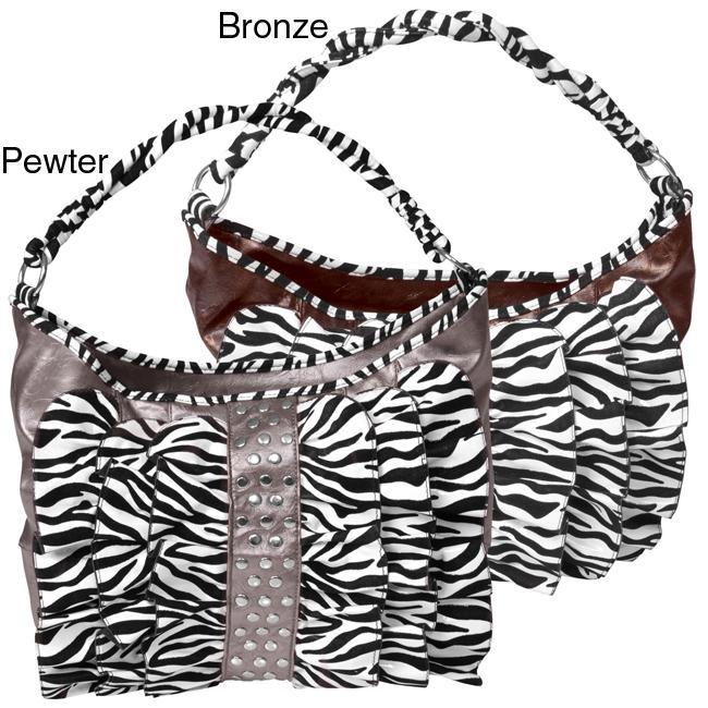 Journee Collection Ruffled Zebra Print Hobo Bag