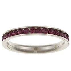 Stainless Steel Purple Stackable Cubic Zirconia Eternity Band