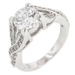 Kate Bissett Silvertone Brass Round-Cut Clear Cubic Zirconia Ring