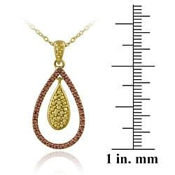 DB Designs 18k Two-tone Gold over Silver Champagne Diamond Teardrop Necklace