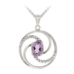 Glitzy Rocks Sterling Silver Amethyst and Diamond Circle Necklace