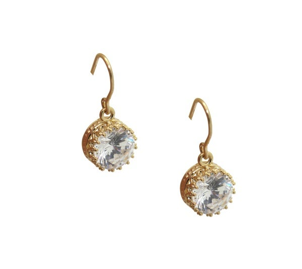 Gioelli 14K Yellow Gold Over Sterling Silver Cubic Zirconia Earrings