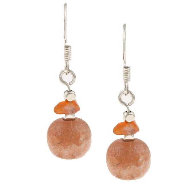 Alexa Starr Silvertone Carnelian and Fossil Earrings