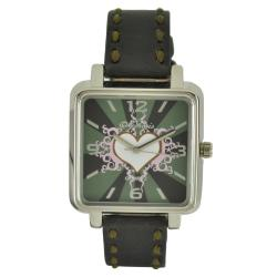 Nemesis Women's Elegant White Heart Leather Band Watch