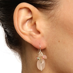 Alexa Starr Silvertone Rose Quartz and Glass Bead Cluster Earrings