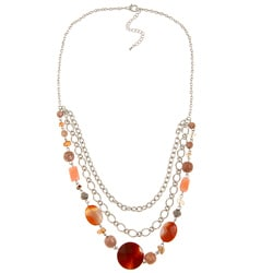Alexa Starr Silvertone Striped Red Agate and Multi-gemstone Bib Necklace