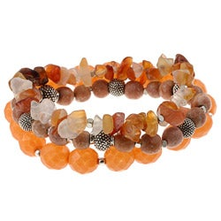 Alexa Starr Silvertone Carnelian and Fossil Stretch Bracelets (Set of 3)