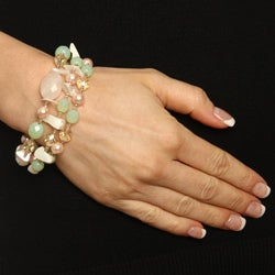 Alexa Starr Three-strand Rose Quartz Stretch Bracelet